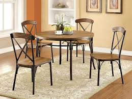black metal dining chairs. Interesting Farmhouse Dining Chairs For Your Room Design: Round Wood Table Plus Black Metal