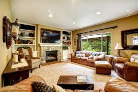 Living Room Set With Free Tv Living Room Interior With Leather Furniture Set Stone Fireplace