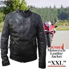 jendex motorcycle leather jacket men biker motor jacket l black