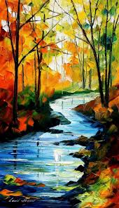 autumn stream original oil painting on canvas by leonid afremov i like paintings that let in lots of light keen to do a river one