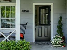classic style black fiberglass dutch door with 9 lite sdl clear glass smooth surface painted