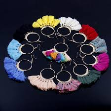 Vintage Bohemian Handmade Cotton <b>Tassel Drop Earrings</b> For ...