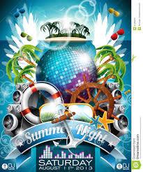 Beach Flyer Vector Summer Beach Party Flyer Design With Disco Ball Stock Vector