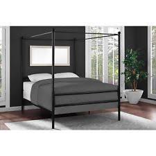Mainstays Metal Canopy Bed Frame Platform Queen Size Black Slats ...