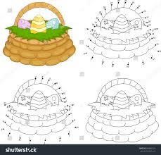 Cartoon Basket Easter Eggs Coloring Book Stock Vector Royalty Free