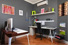 home office small space ideas. Grey Wall Color For Small Home Office Ideas With Sleek White Desk And Black Chair Space D