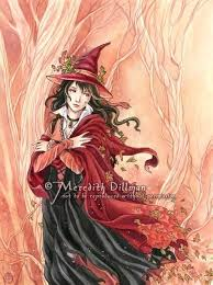 Items similar to Autumn Witch art, <b>Gothic Halloween print</b>, limited ...
