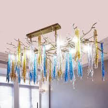 american vintage wrought iron industrial handmade tree branch crystal chandelier
