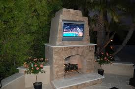 prefab outdoor fireplace tv