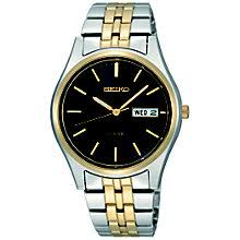 men s seiko watches h samuel seiko men s two tone black dial bracelet watch product number 8584273