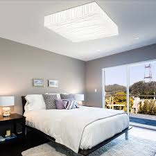 lighting for house. Picturesque Bedroom With Soft Bedding Set Under Square Shaped LED Ceiling Lights Lighting For House