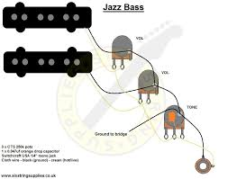 six string supplies jazz bass wiring wiring diagram for the jazz bass this diagram is based on our jazz bass wiring kit using cts pots an orange drop capacitor switchcraft jack and push