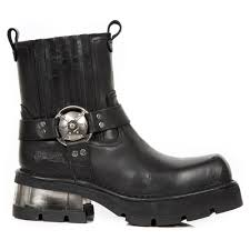 m 1605 s1 new rock black leather biker ankle boots