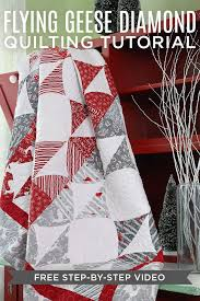 455 best Quilting Tutorials images on Pinterest | Quilt patterns ... & Easy Flying Geese Diamond Quilt going on the to-do list! Free video tutorial Adamdwight.com