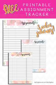 17 best ideas about assignment planner college floral printed printable assignment tracker i had so much fun making this weekly printable