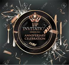 Dinner Invation Vip Dinner Invitation Card With Cold Confetti Plate And Cutlery