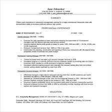 Resume Template For Restaurant Manager Manager Resume Templates Doc With Restaurant Sample Free