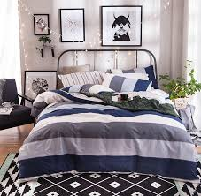 Geometric stripes bedding set adult teen kid manly boy,cotton full queen  modern home textiles