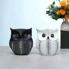 <b>nordic style minimalist</b> craft white black owls animal figurines resin ...