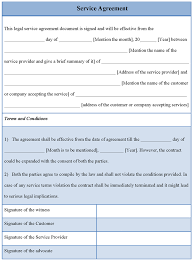 Service Agreement Samples Printable Samples Service Agreement Template