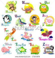 stock vector cute animal alphabet for abc book vector illustration of cartoon animals m n o p q r s t