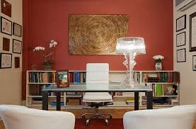 home office office wall. simple home office in bold red wall colors