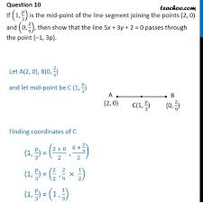 If 1 P 3 Is Mid Point Of Line Segment Joining 2 0 And