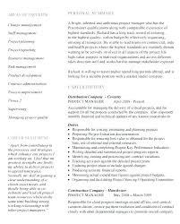 Sample Project Manager Resume Objective Sample Project Manager Resume Imcbet 86