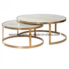 modern round marble top stainless steel base nesting coffee table
