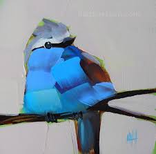 blue racket tailed roller bird painting
