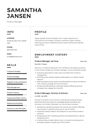 Product Manager Resume Sample Template Example Cv Formal Design