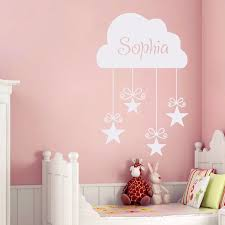 diy custom name decals vinyl cloud and stars wall sticker home decor baby girls bedroom wall on diy wall art for baby girl nursery with diy custom name decals vinyl cloud and stars wall sticker home decor