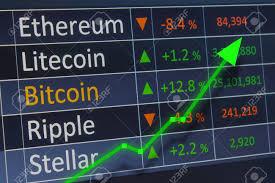 Stellar Stock Chart Crypto Coin Chart With Upward Rising Arrow For Increasing Profits