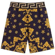 Versace Swim Shorts Size Chart Blue Gold Baroque Shorts