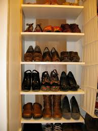 furniture beige wooden shoe storage with graded racks alluring shoe storage ideas for closet