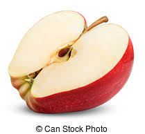 red apple slice. apple slice isolated on white background. clipping path red a