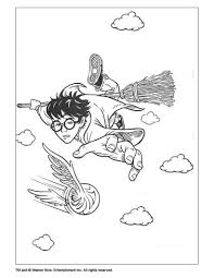 Flying Harry Potter Coloring Page Let