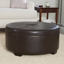 smart brown leather storage ottoman decorative elegant in home image of round upholstered coffee table oversized velvet white tufted ottomans and benches