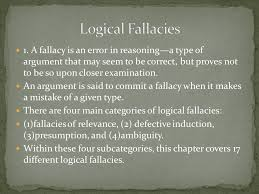 logical fallacies essay logical fallacies a fallacy is an error in reasoning a type of a fallacy is