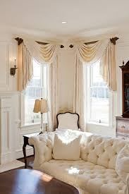 Great #valances - omg. all white/off white with wood accent living room  Corner  Window TreatmentsWindow Treatments Living ...
