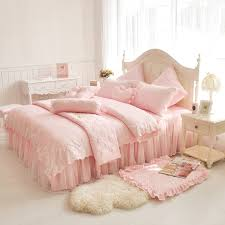 comforter sets pink lace princess duvet cover queen king size girls solid color bedspread bedclothes