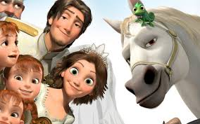 tangled 2 tangled ever after rapunzel flynn maximus pascal wedding bride crown children happy forever tangled
