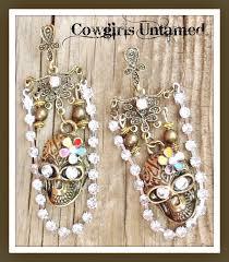 antique bronze skull with rhinestone chain brass chandelier earrings earrings skull flower pink red enamel brass bronze antique blue red yellow