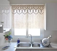 white kitchen windowed partition wall: custom kitchen macrame curtains fiber art bohemian short curtain macrame wall hanging room divider wedding backdrop