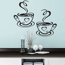 2 coffee cups kitchen wall stickers cafe vinyl art decals diner pub hearts