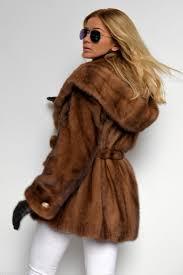 mink furs demi buff saga mink fur coat with hood belt