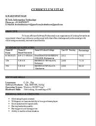 Sample Resumes For Freshers Engineers It Engineer Fresher Resume Kundan Resume Format For