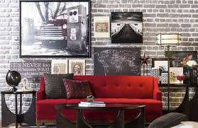 adorable red sofas creating a modern