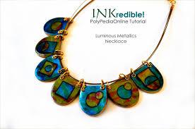 alcohol inks polymer clay tutorial inkredible luminous metallics necklace ebook video