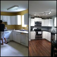 Flush Mount Kitchen Lighting Kitchen Before And After Kitchen Renovation With Refacing White